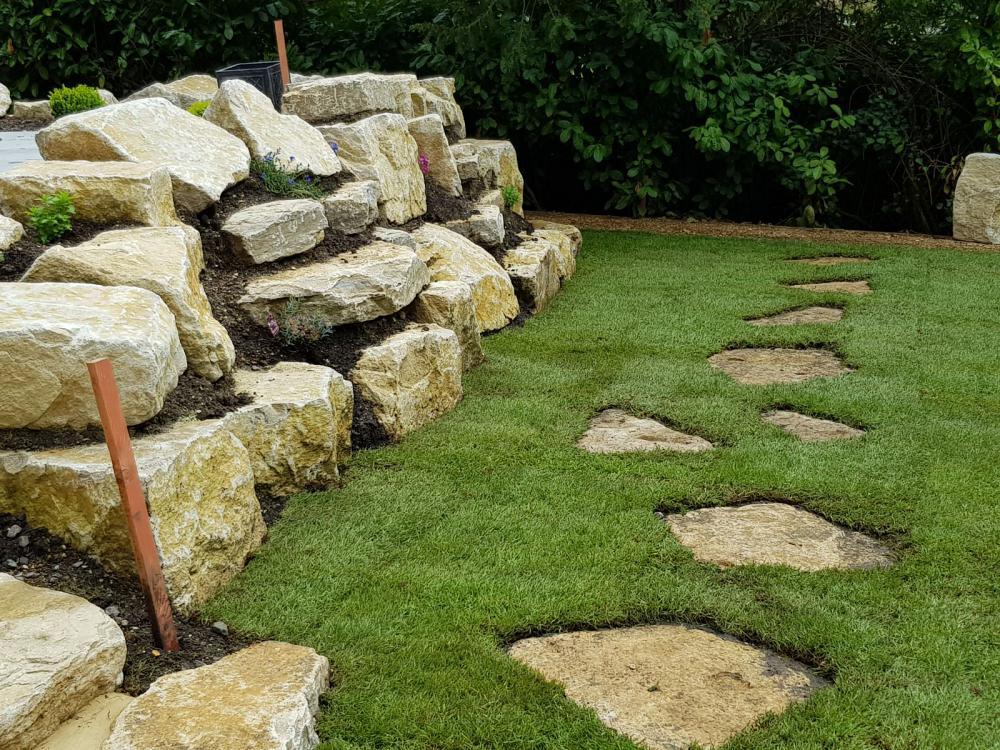 landscape slab in grass